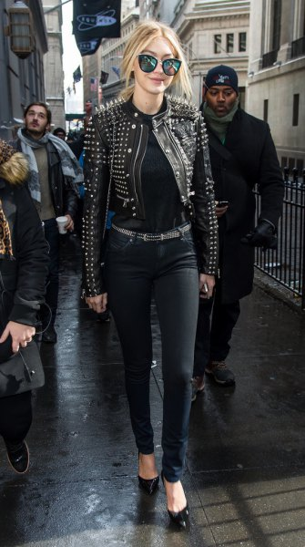 black leather jacket with rivets, matching belt and skinny jeans