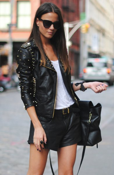 black slim fit jacket with rivets and mini shorts with belt