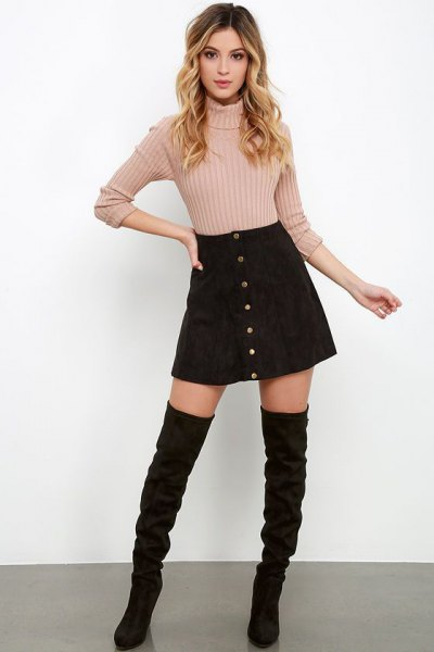 black suede skirt with buttons