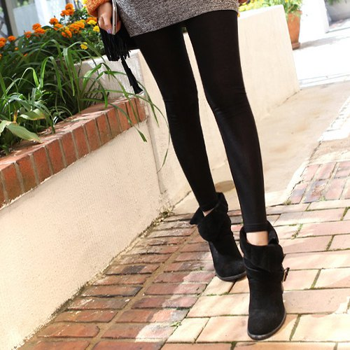 black suede fold over ankle boots gray dress black leggings