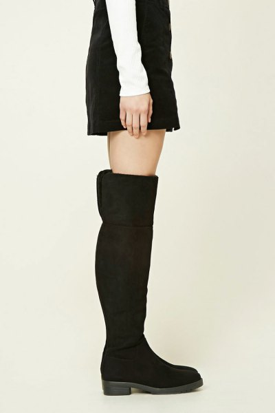black suede above the knee fold over boots with a shift dress
