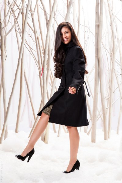 black suit jacket dress with ballerinas