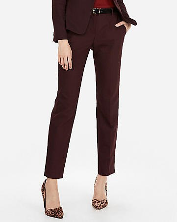 black suit with a burgundy-red, slim-fitting shirt