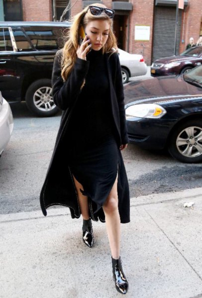 black sweater dress pointy toe ankle boots
