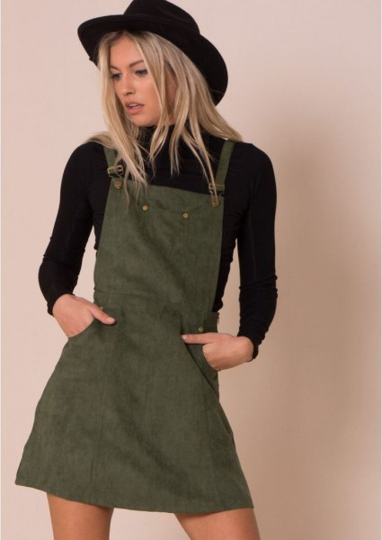 black sweater gray pinafore dress
