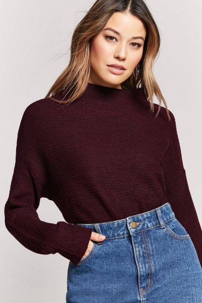 black sweater mom jeans outfit