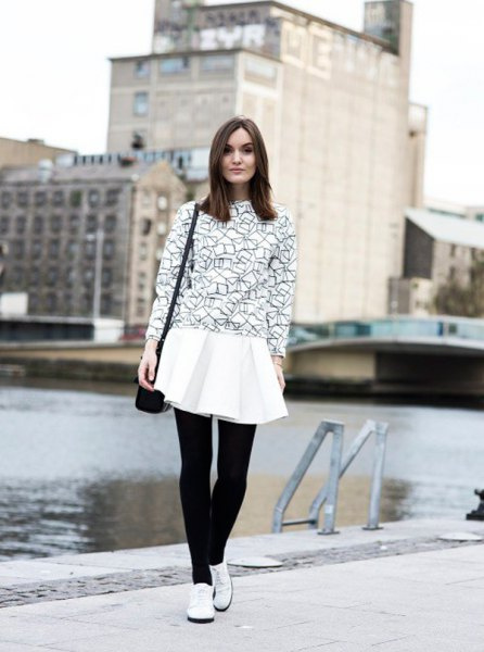 black sweater white pleaded shirt oxford shoes