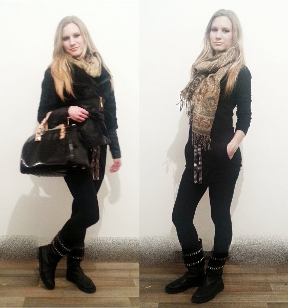 black sweater with skinny jeans and gold tribal scarf
