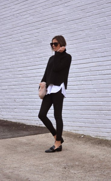 black sweater with white boyfriend shirt and skinny jeans