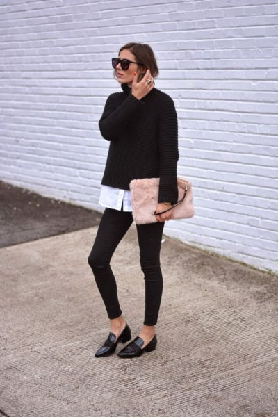 black sweater with white shirt and blushing pink clutch