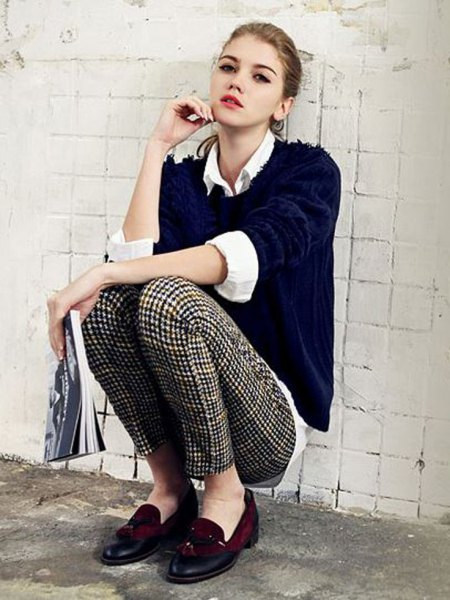 black sweater with white shirt and checked drainpipe trousers