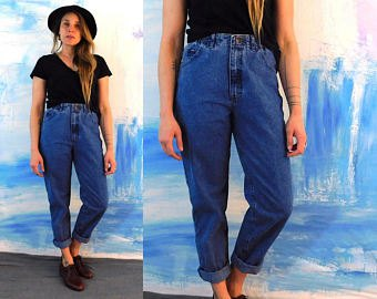black t-shirt blue jeans with cuff