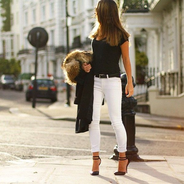 black t-shirt with ankle red white jeans and faux fur jacket