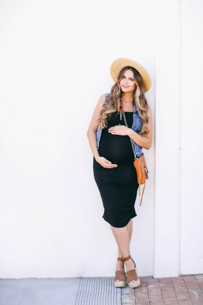 black tank dress denim vest