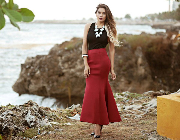 black tank top with burgundy maxi skirt