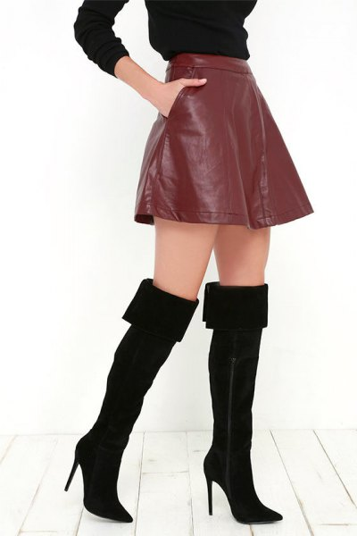 black thighs fold up over boots brown leather mini skirt