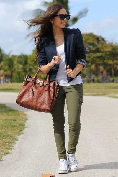 black blazer with three-quarter sleeves, white tank top and olive-green trousers
