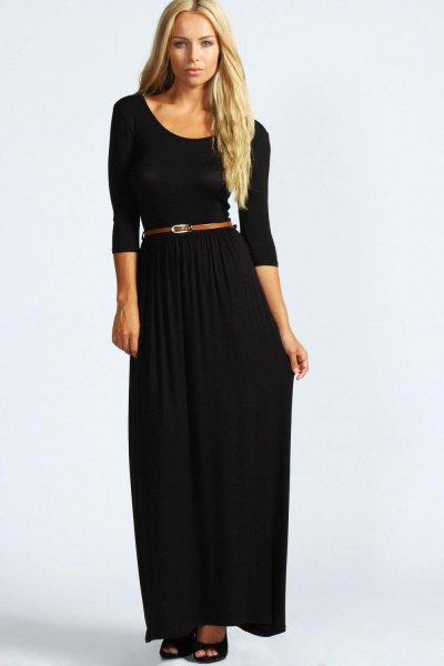 black maxi dress with three-quarter sleeves and scoop neckline