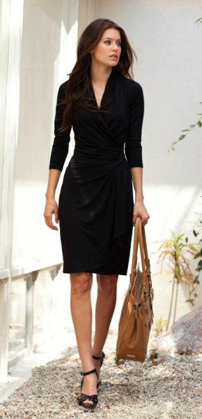 black wrap dress with three-quarter sleeves and open toes