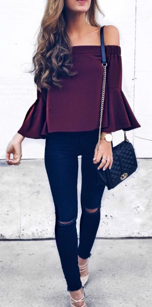 black top dark blue skinny jeans