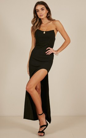 black transparent spaghetti strap high split maxi dress