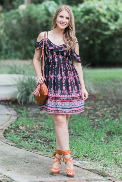 black tribal printed mini dress with open shoulder