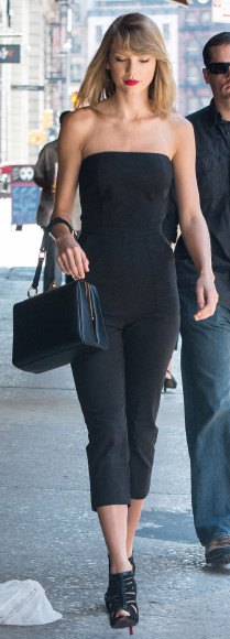 black tube top with shortened trousers and open toe heels