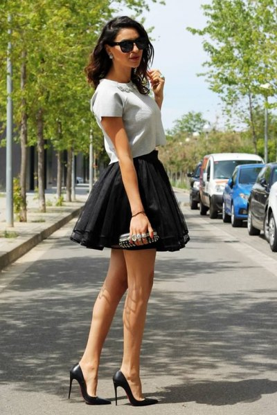 Mini skirt outfit made of black tulle frills
