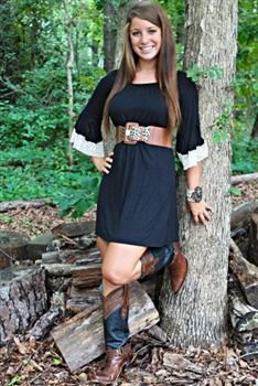 black tunic dress with brown, wide leather belt