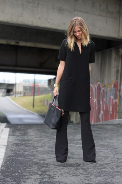 black tunic dress with flared trousers