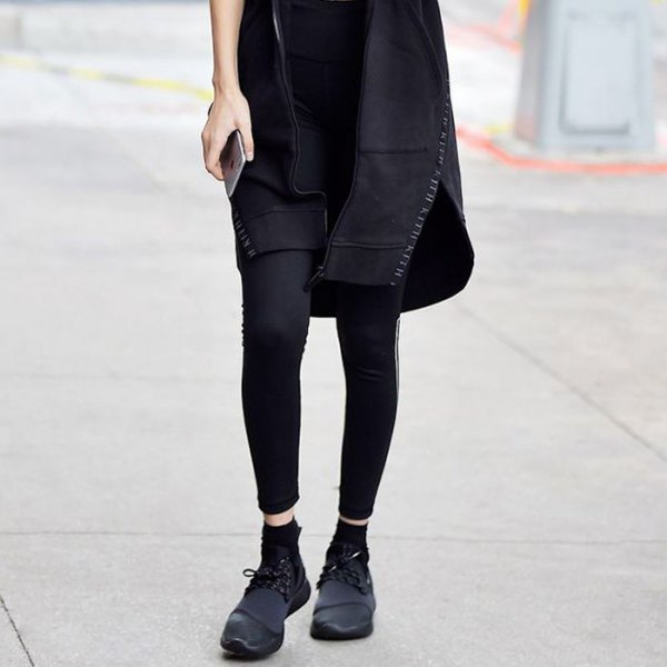 black tunic dress with leggings and wedge shoes