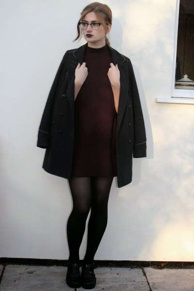 black turtleneck long wool coat
