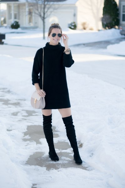 black turtleneck mini dress thigh high boots