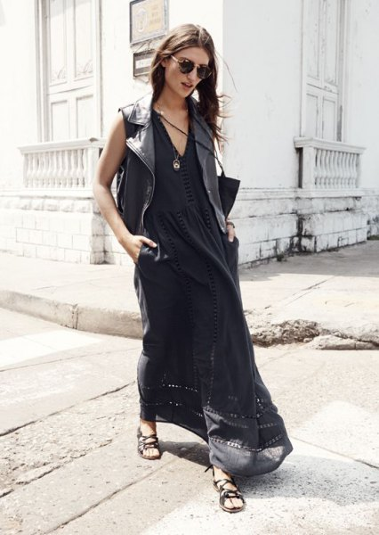 black airy maxi dress outfit with V-neck