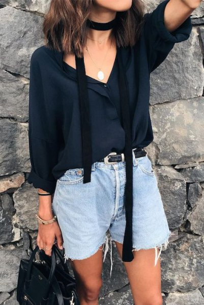 black chiffon blouse with V-neckline and thin summer scarf
