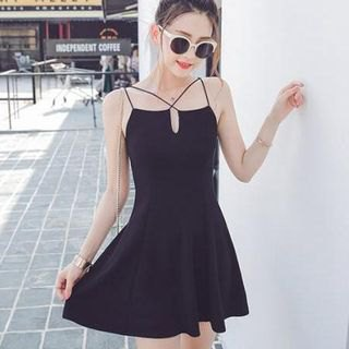 black strappy skater dress with V-neck