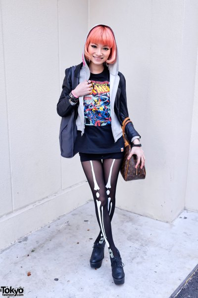 black velvet blazer with vintage graphic t-shirt and mini shorts
