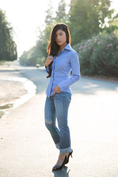 black velvet heels with a sky blue shirt with buttons