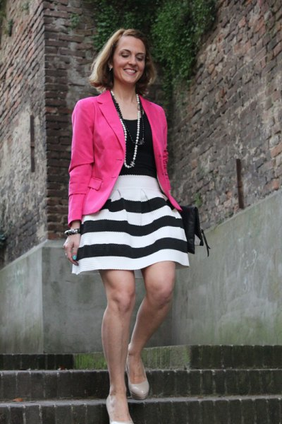 black vest top pink blazer