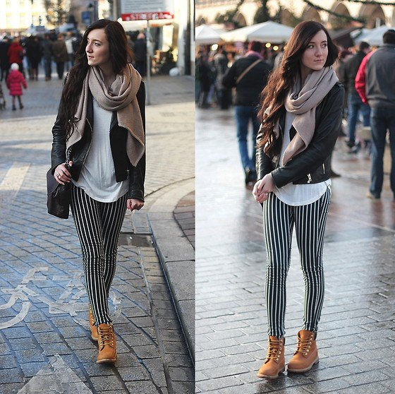 black and white leggings leather jacket boots
