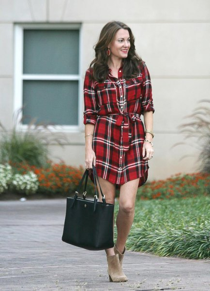 black white red tie waist plaid shirt dress