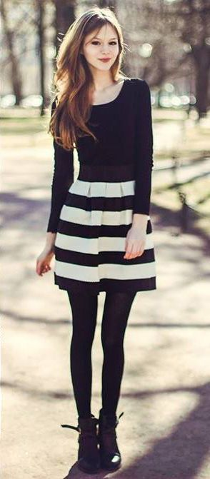 Contrast Strips A-line Skirt | Striped skirt outfit, Fashion .