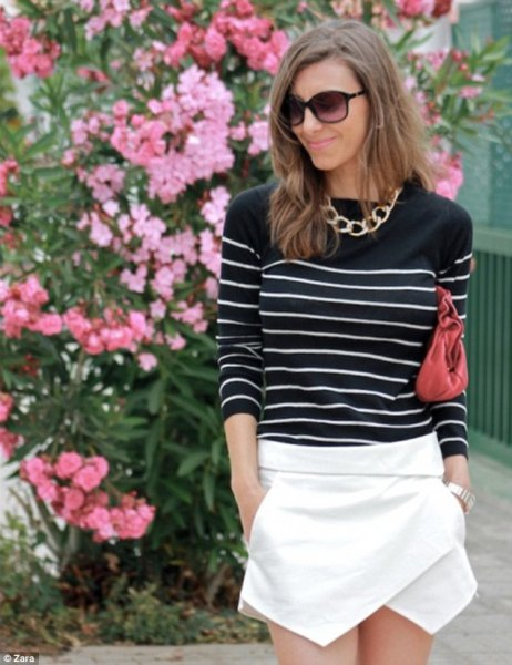 black and white striped sweater white skort