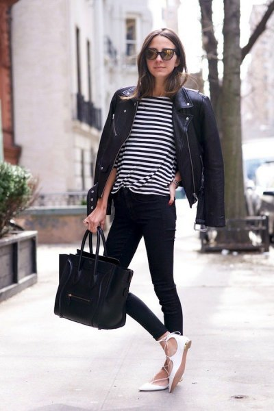 black and white striped t-shirt with moto jacket and strappy ballerinas