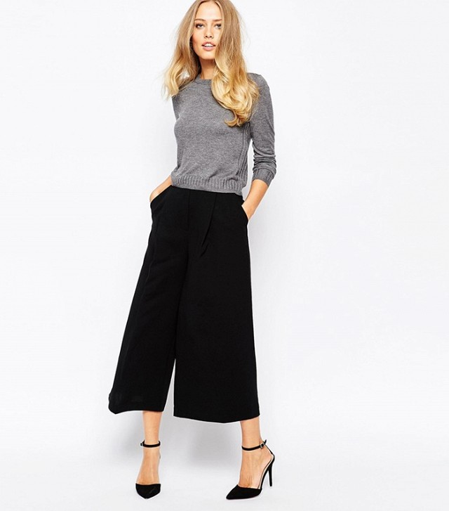 black capris sweater with wide leg