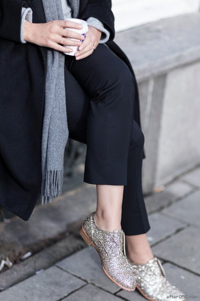 black wool coat gray knitted sweater