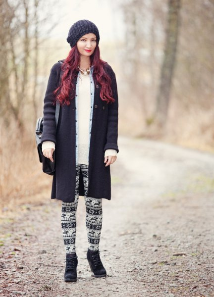 black wool coat with tribal leggings and knitted hat