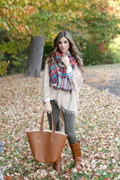 Blanket sweater plaid scarf breeches