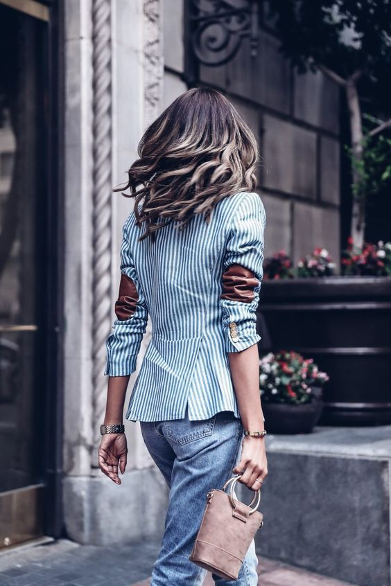 Blazer with Elbow Patches Outfit Ideas - kadininmodasi.org in 2020 .
