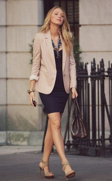 Blazer with a black mini dress and gray heels with open toes